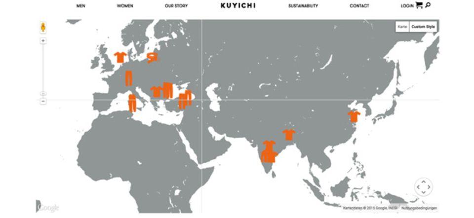 Screenshot der interaktiven Weltkarte