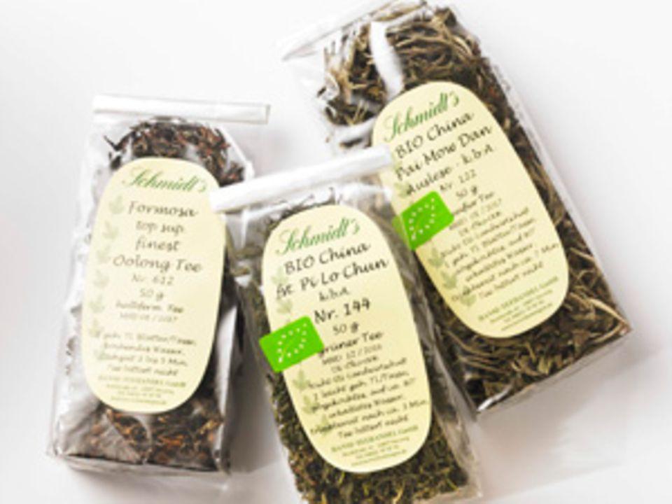 Drei der ausgewählten Teesorten von Rainer Schmidt.
