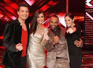 Fernsehen: Die Finalisten in schönster Castingshow-Pose: David Pfeffer, Nica & Joe, Raffaela Wais.