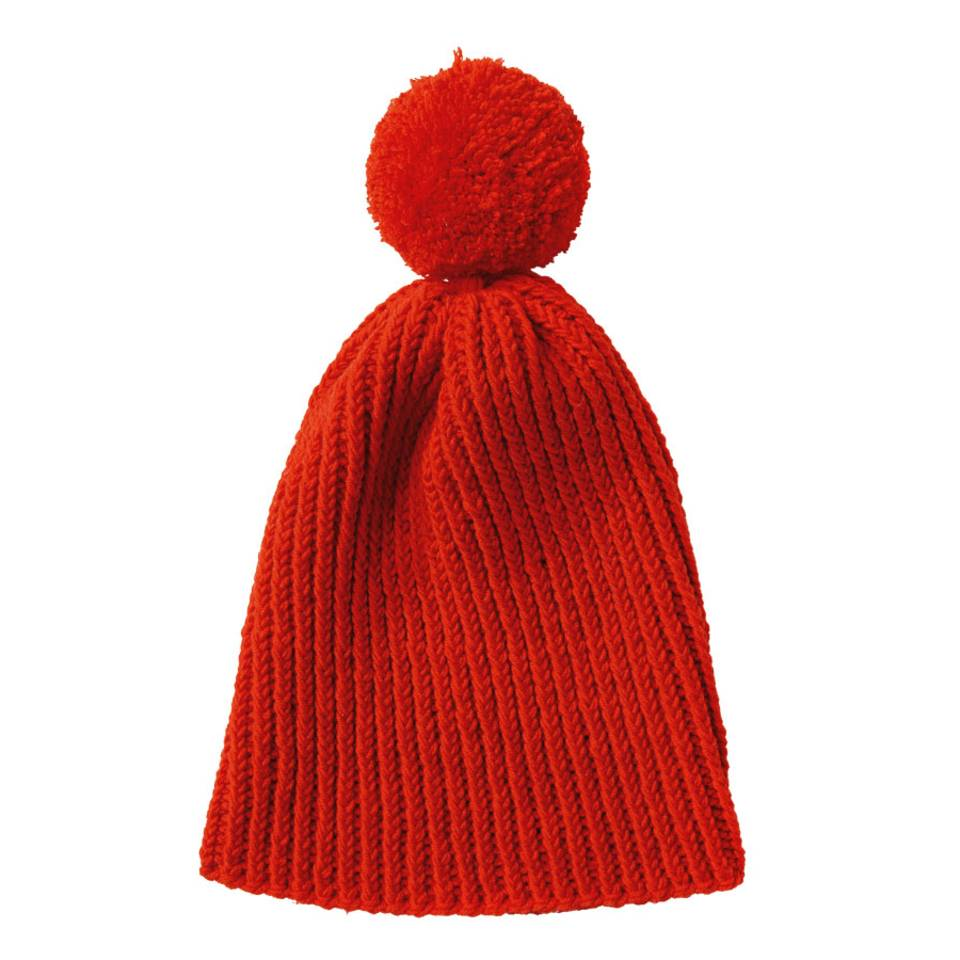 Rote Mütze mit Bommel stricken - eine Anleitung