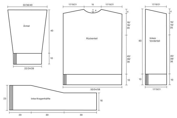 Strickmuster: Schalkragen-Jacke stricken - eine Anleitung