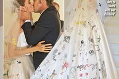 So sah Angelina Jolie in ihrem Hochzeitskleid aus