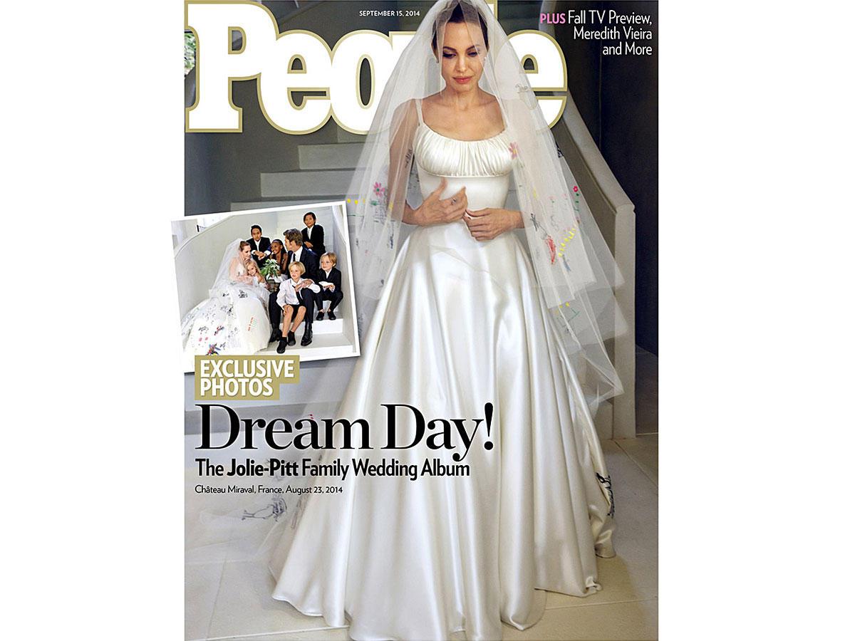 ... Hochzeit: So sah Angelina Jolie in ihrem Hochzeitskleid aus - BRIGITTE