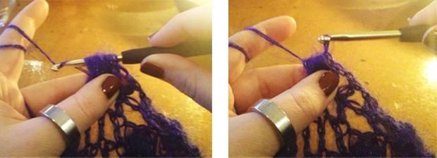 Dann den Faden um die Nadel legen und durch die Bollen ziehen.