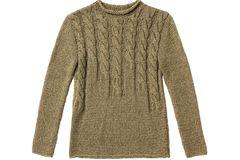 Braunen Pullover mit Zopfmuster stricken