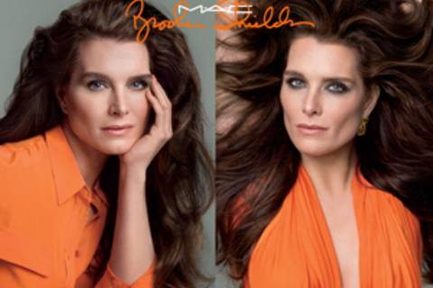 Brooke Shields macht Make-up für Mac