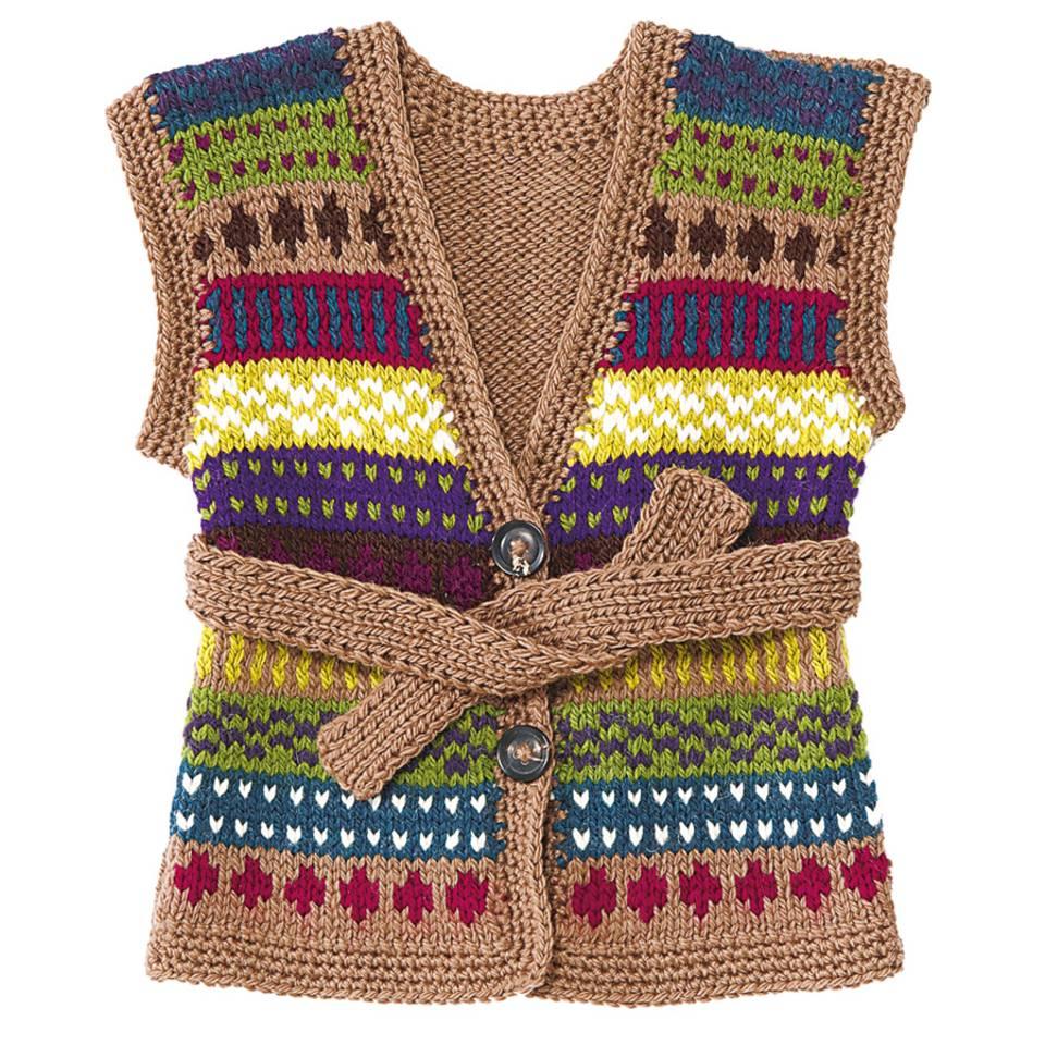 Kinderweste mit Muster stricken - eine Anleitung