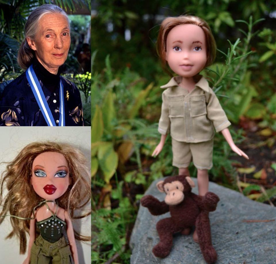 Jane Goodall ist eine britische Wissenschaftlerin, die die Erforschung von Affen stark vorangetrieben hat. Auch die heute 81-Jährige bekommt eine Puppe.