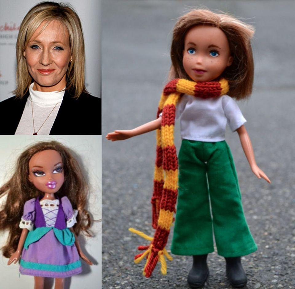 Aus dem etwas dümmlichen Dirndl-Mädchen wird eine der erfolgreichsten Autorinnen der Welt: Harry-Potter-Erfinderin J.K. Rowling, mit passendem Gryffindor-Schal.