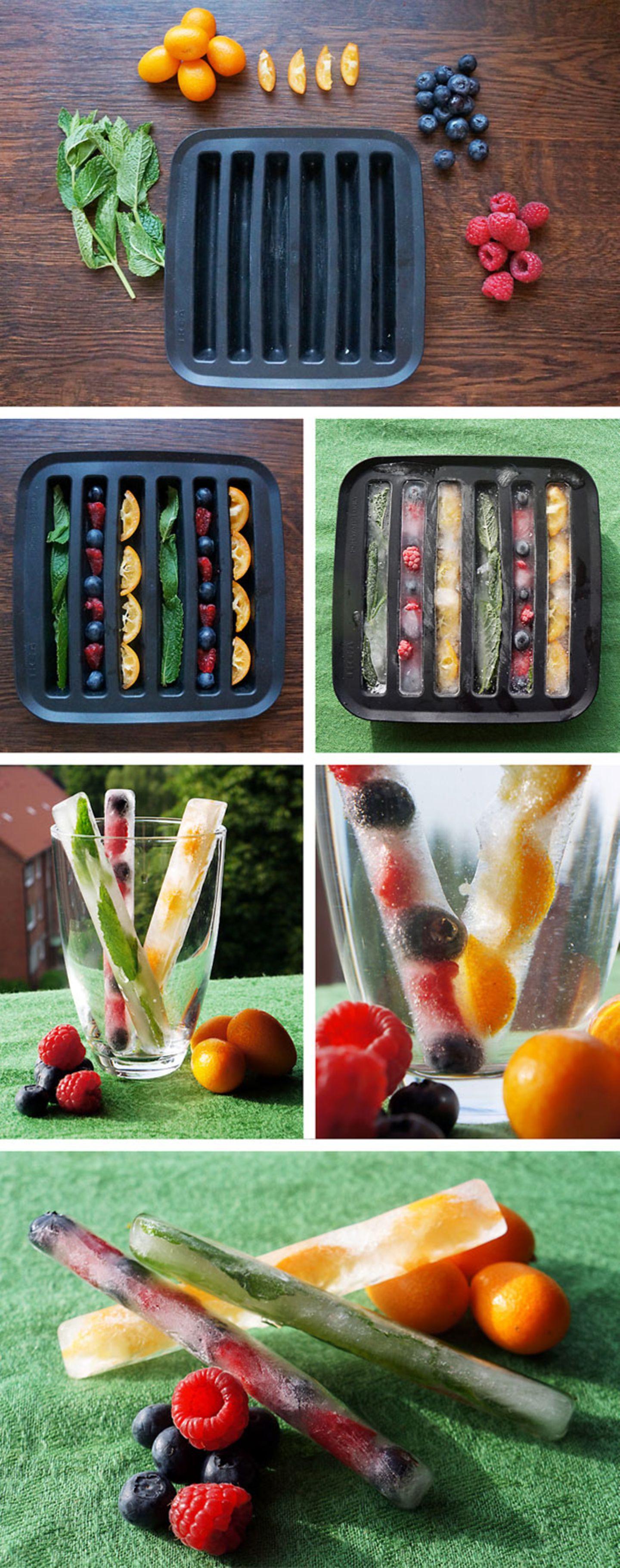Eiswürfel mit Früchten - Erfrischung pur!