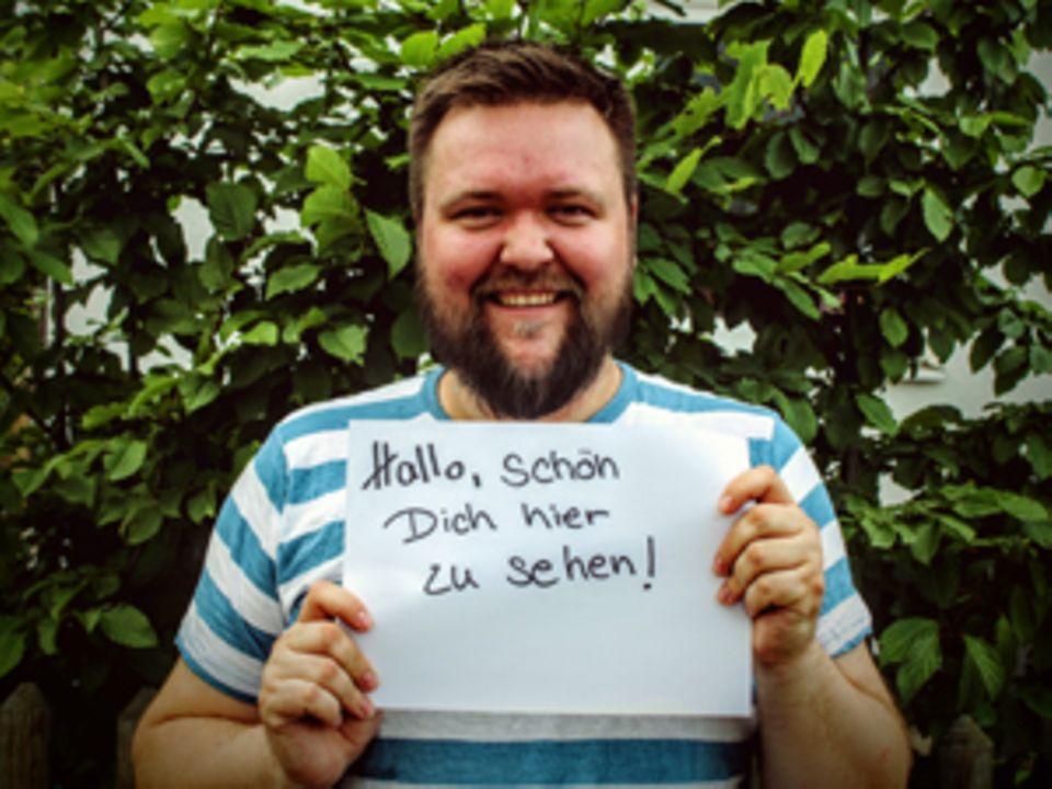 """""""Hallo, schön dich hier zu sehen!"""" - Mit diesem Bild machte Lutz den Anfang zur Aktion """"1000 Mal Willkommen""""."""