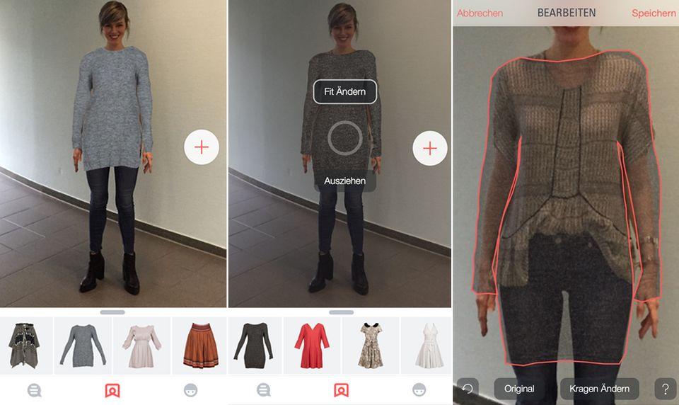 Die einzelnen Schritte: Das ausgewählte Kleidungsstück auswählen, direkt wieder ausziehen oder die Größe anpassen.