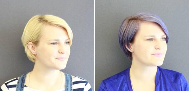 Links erblondet, rechts lavendelisiert.