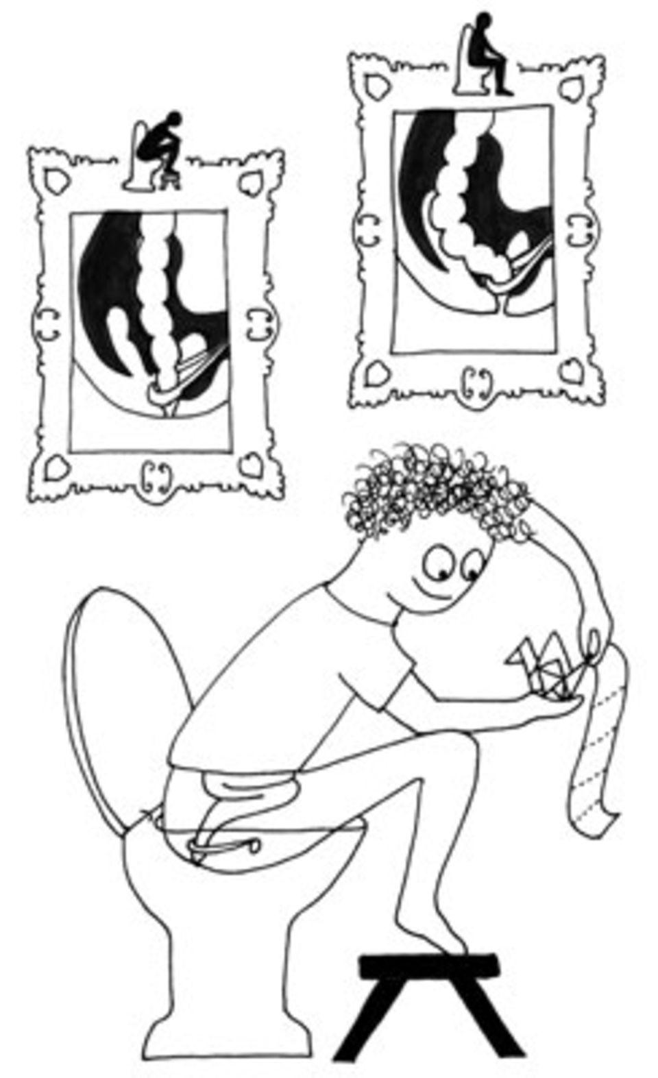 Alles eine Frage der Haltung: Auf der Toilette sitzend macht unser Darm einen Knick und kann sich nicht völlig entleeren - anders als beim Hocken im Freien. Alternativ tut es aber auch ein kleiner Hocker vor dem Klo und ein vorgebeugter Oberkörper.