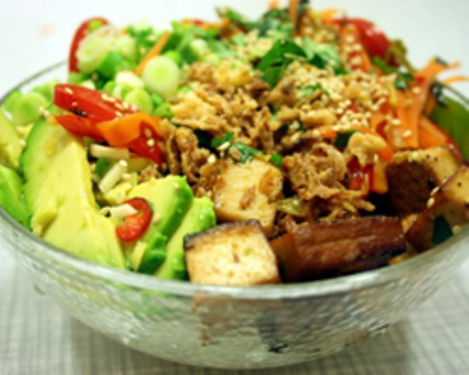 ... hier Kochen mit Tofu.