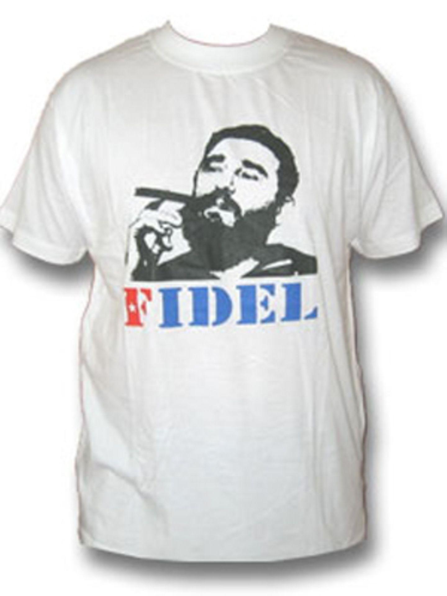 Fidel Castros Porträt gibt's für ca. 15 Euro unter www.shirt66.de auf euer Shirt!