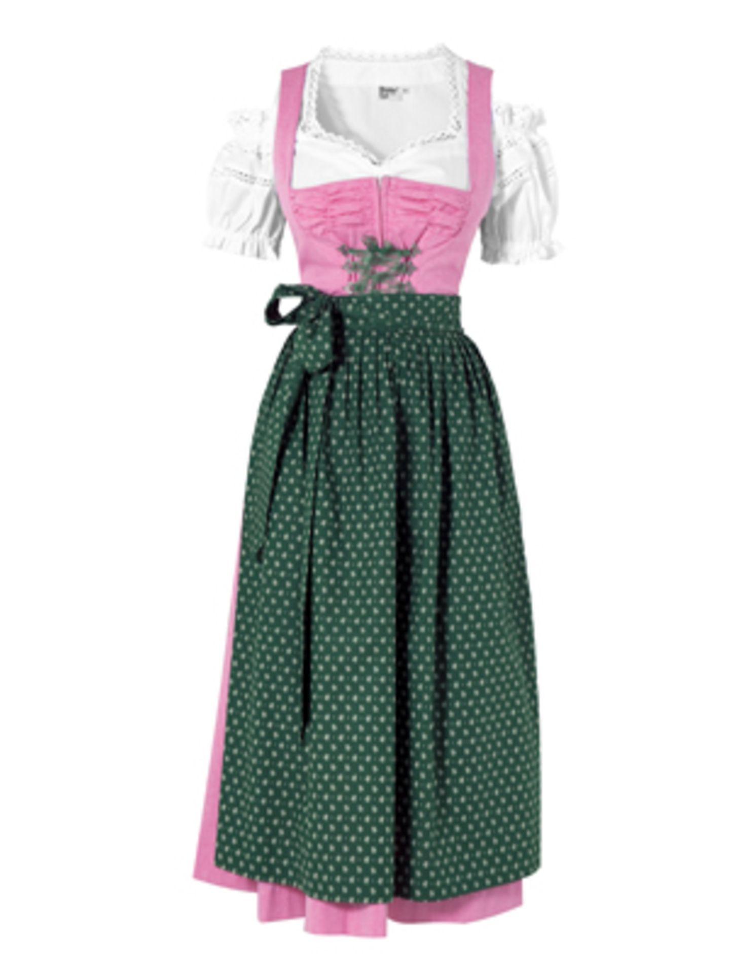 Bodenlanges Dirdl in Rosa mit kurzärmeliger Spitzen-Bluse und grüner Schürze von K&L. Dirndl um 80 Euro, Bluse um 25 Euro.