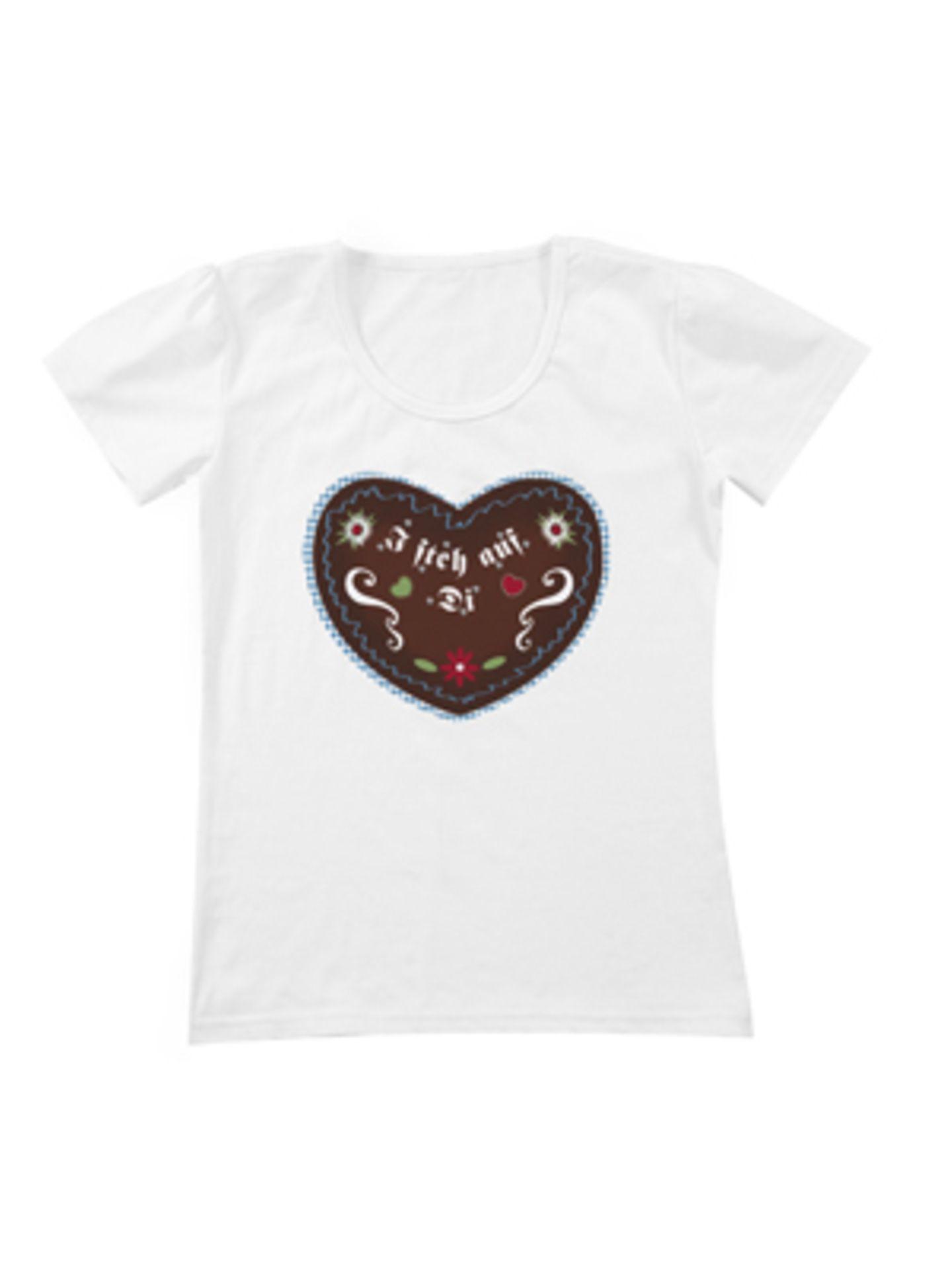 """Weißes Shirt mit """"I steh auf Di""""-Lebkuchen-Print von K&L, um 15 Euro."""