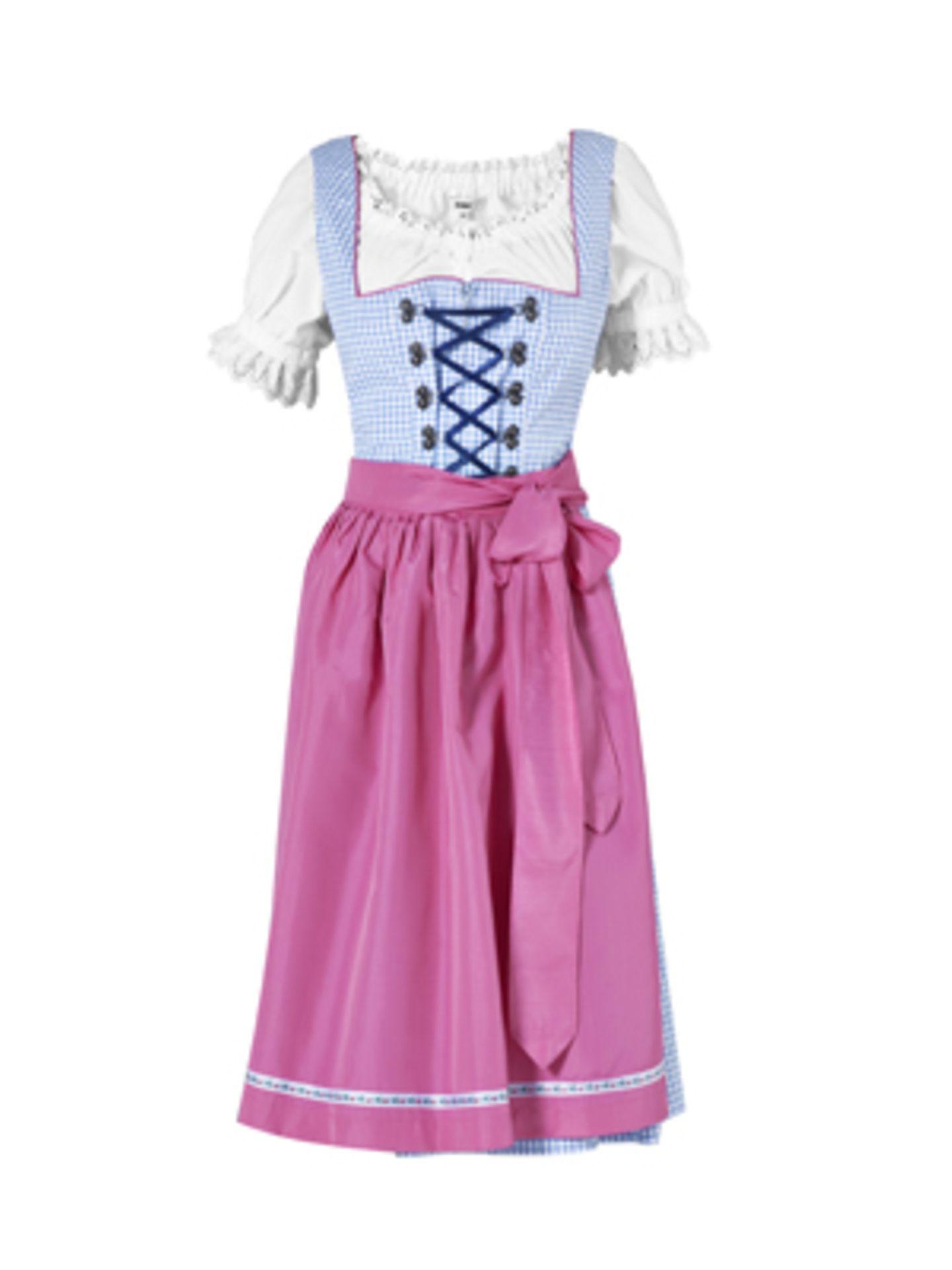 Hellblaues, knielanges Dirndl mit Schnürung vorn und pinkfarbener Schürze von K&L, um 70 Euro. Weiße Kurzarm-Bluse um 35 Euro.