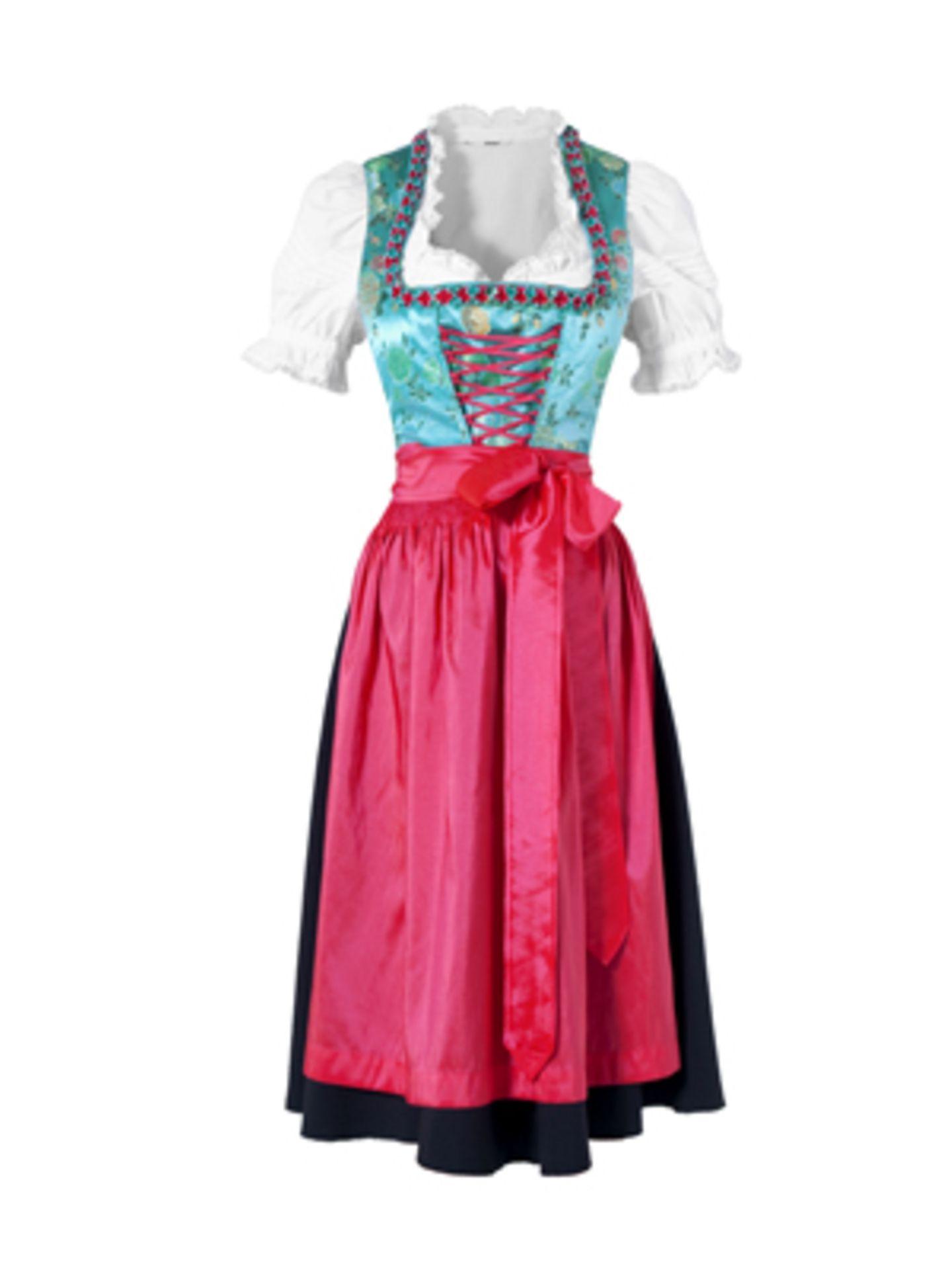 Knöchellanges Dirndl in Türkis und Schwarz mit pinkfarbener Schürze von K&L, um 130 Euro. Kurzarm-Dirndlbluse um 25 Euro.