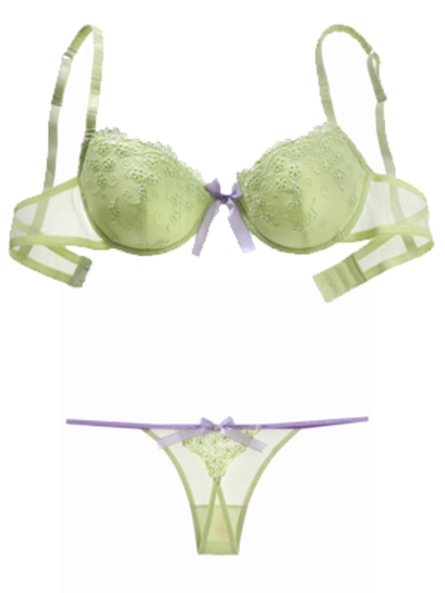 Gepaddeter BH und String in Grün mit violetten Details aus der Paradise Collection von Palmers. BH um 29,90 Euro, String ca. 12,90 Euro.