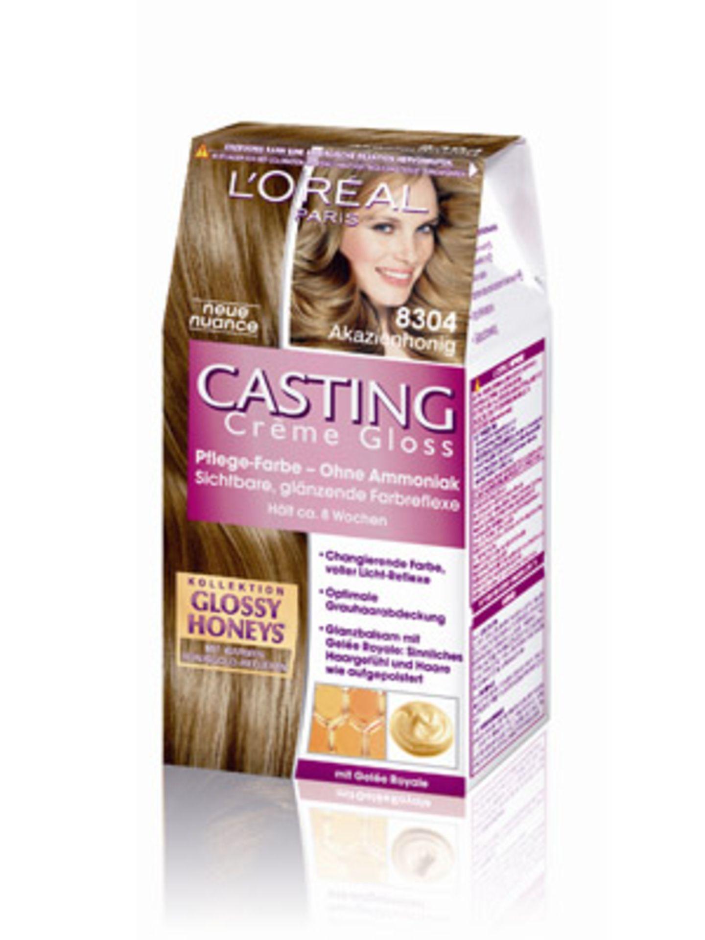Das Casting Crème Gloss von L'Oréal kommt ganz ohne Ammoniak aus und verleiht dem Haar warme Gold-Reflexe. Um 8 Euro.