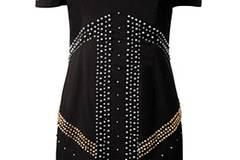 Kleid mit silbernen und goldenen Steinen von French Connection, um 180 Euro