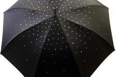Exklusiver Regenschutz: Schwarzer Regenschirm mit funkelnden Strasssteinen, um 259 Euro. Zu Bestellen über  www.regenschirme.de