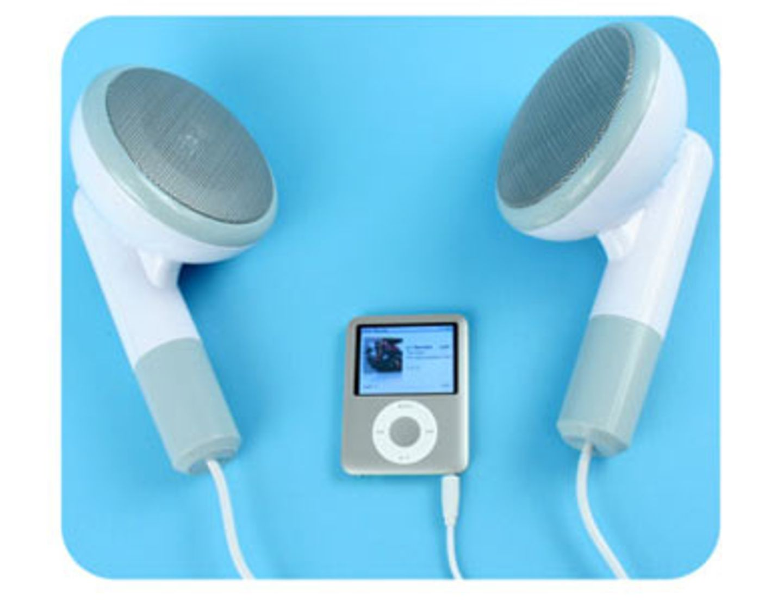 Lautsprecher im Kopfhörer-Look für den mp3-Player oder PC von fredflare.com, um 65 Euro.