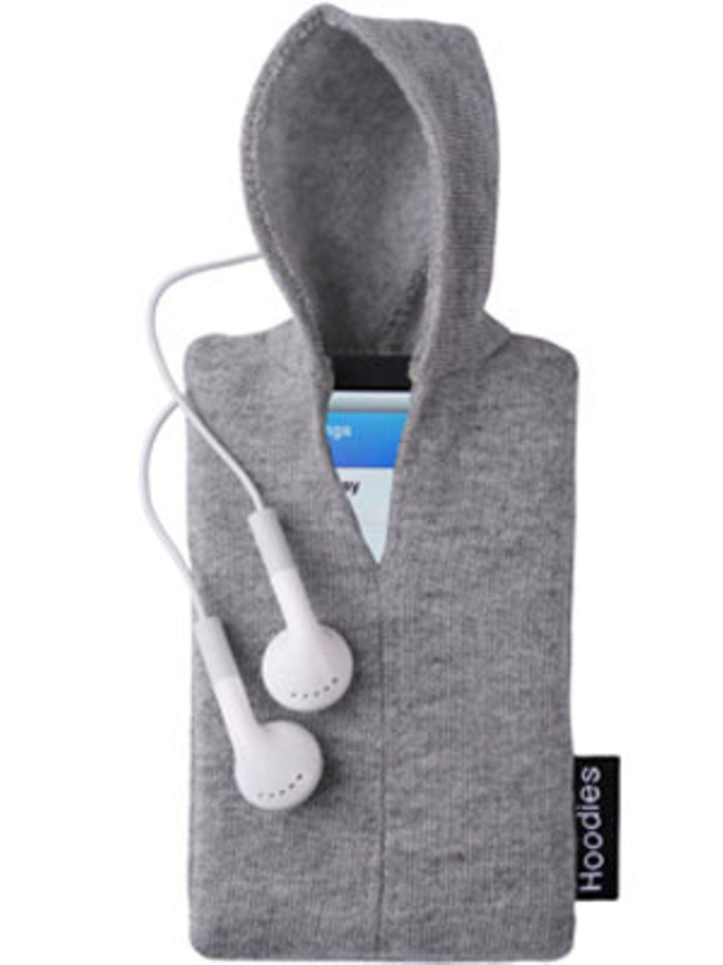 Auch unser iPod legt Wert auf stylische Kleidung: iPod-Hoodie von fredflare.com, um 15 Euro.