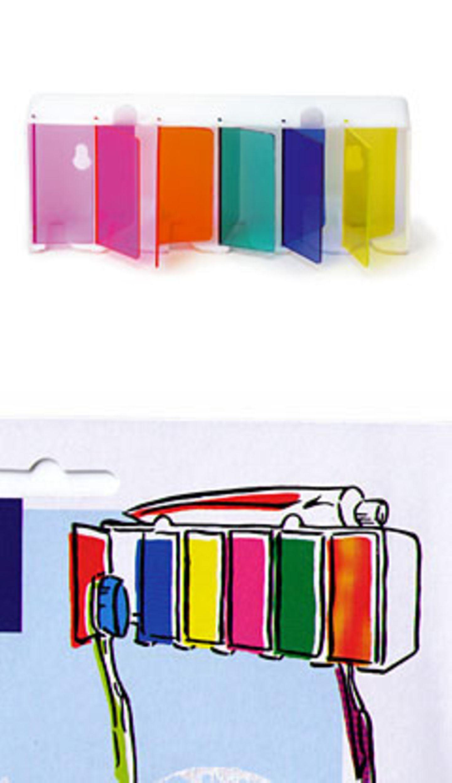 Putzmunter    Eine Zahnbürste kommt selten allein - auf jeden Fall in einer WG. Und damit im Bad jeder seine Bürste schnell zur Hand hat, gibt es diesen farbenfrohen Zahnbürstenhalter aus Plastik für sechs Bürsten. Selbstklebend oder mit Schraubvorrichtung. Maße: 15x6x3 cm. Zu bestellen für 3,50 Euro zzgl. Versandkosten über >> www.okversand.com