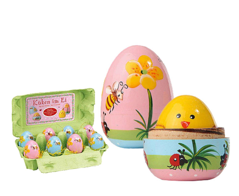 Nicht nur hübsche Deko- sondern auch tolle Geschenkidee: Küken im Ei von Bertine, um 5 Euro.