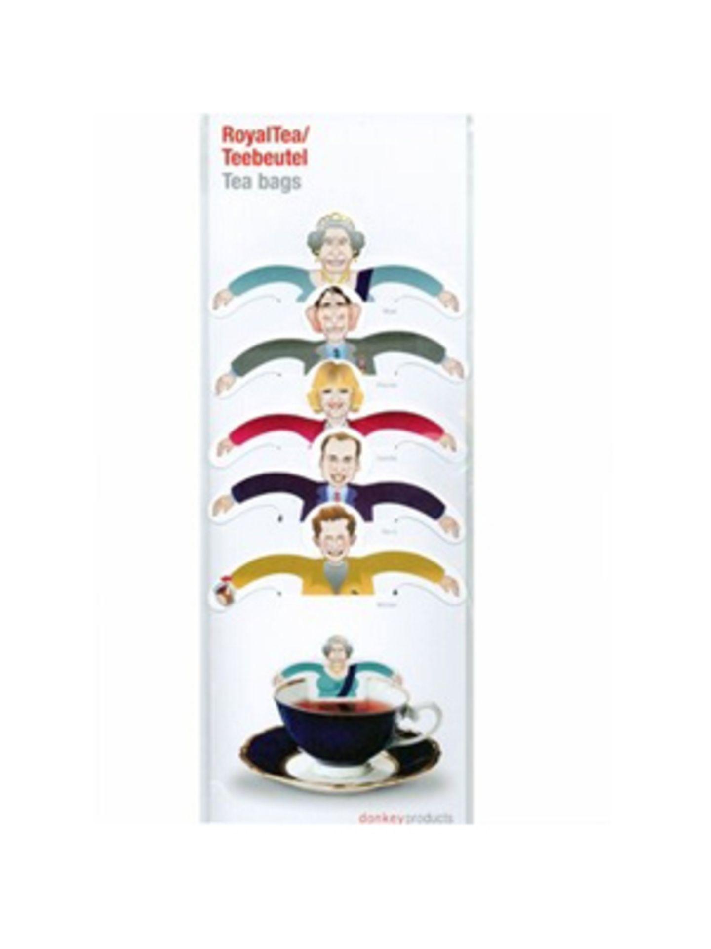 Oma liebt Tee? Und von den Royals kriegt sie auch nie genug? Wie schön, dass es sie jetzt alle als Teebeutel gibt. Über Design3000, um 8 Euro.