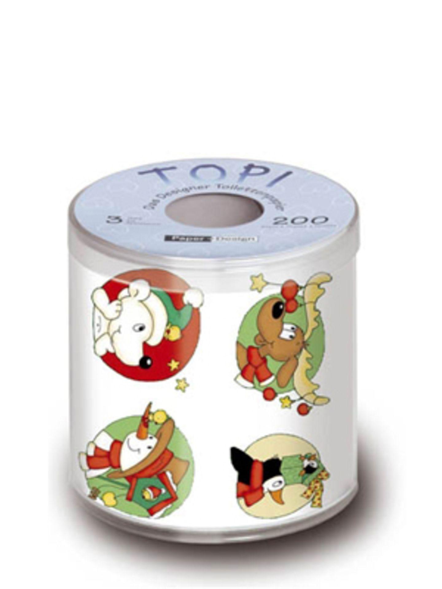 Dieses Papier braucht nun wirklich jeder. Warum also nicht Weihnachtsklopapier verschenken? Von YPSILON, um 4 Euro.