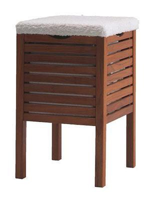 Da hockst di nieder!    Dieser Hocker sieht nicht nur gut aus und bietet eine prima Sitzgelegenheit - zum Beispiel während des Föhnens - er bietet auch einen perfekten Stauraum für Schmutzwäsche oder Handtücher.     Preis: ca. 33 Euro, über  www.ikea.de