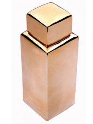 Goldig    Diese edle, goldene Deckelvase  aus Keramik ist in jedem Badezimmer ein echter Blickfang. Höhe: 34 cm.     Preis: ca. 20 Euro, über  www.feinerschnickschnack.de