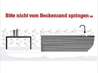 Baywatch    Weißt Bescheid, ne? Selbstklebende Vinylfolie mit eindeutiger Message für die Wand. Breite: ca. 111 cm.     Preis: ca. 49 Euro, über  www.design3000.de