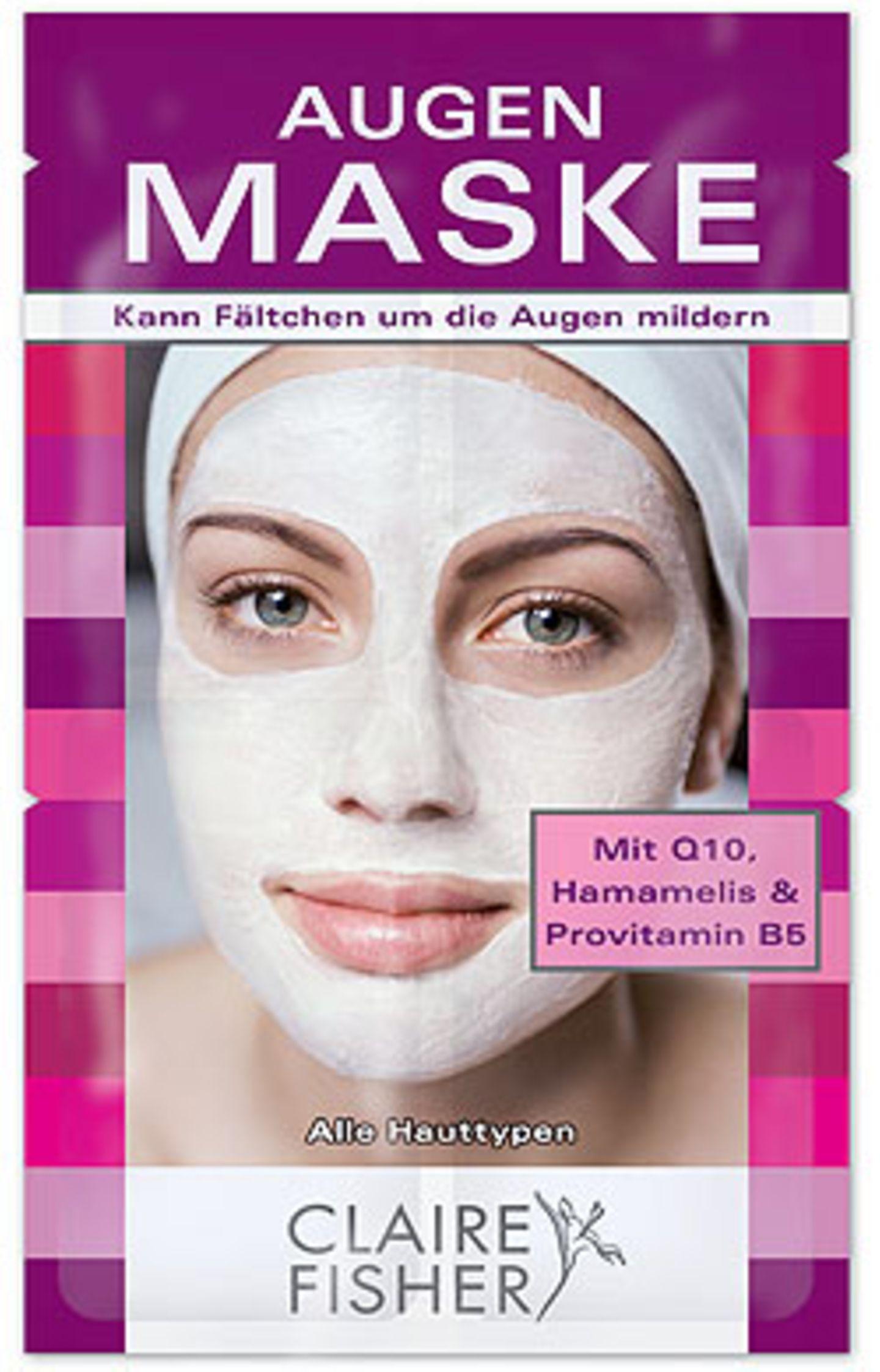 Für empfindliche Augenpartien ist diese Augenmaske von Claire Fisher genau das Richtige: mit Coenzym Q10, Hamamelis und Provitamin B5, ca. 2 Euro.