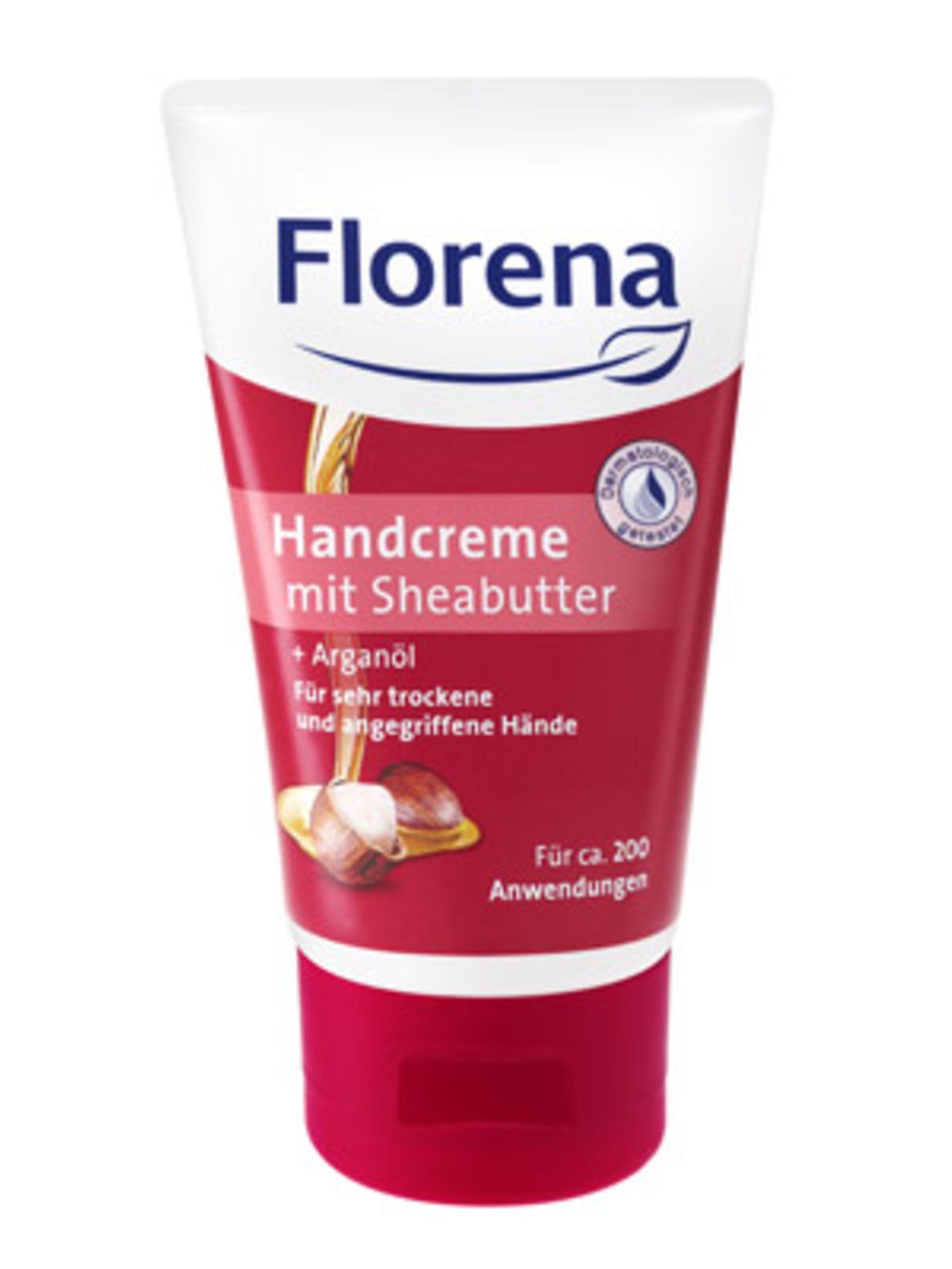 Handcreme mit Sheabutter und Arganöl für sehr strapazierte Hände von Florena, ca. 2 Euro.