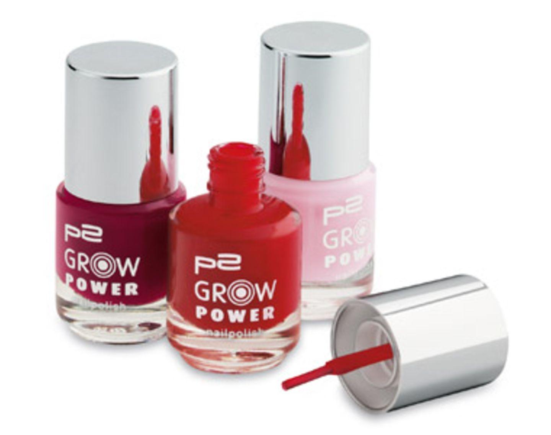 Nagellack in Trendfarben, der nicht nur schick aussieht sondern auch das Wachstum der Nägel fördert. Von P2, je ca. 2 Euro.