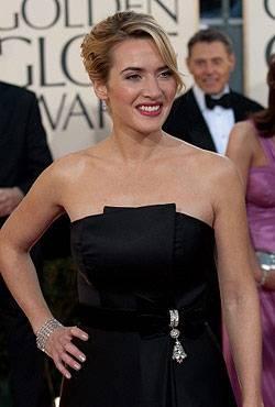 """Kate Winslet war die Frau des Abends. Sie gewann gleich zwei Golden Globes, als beste Hauptdarstellerin (Kategorie Drama) für """"Zeiten des Aufruhrs"""" und als beste Nebendarstellerin für """"Der Vorleser""""."""