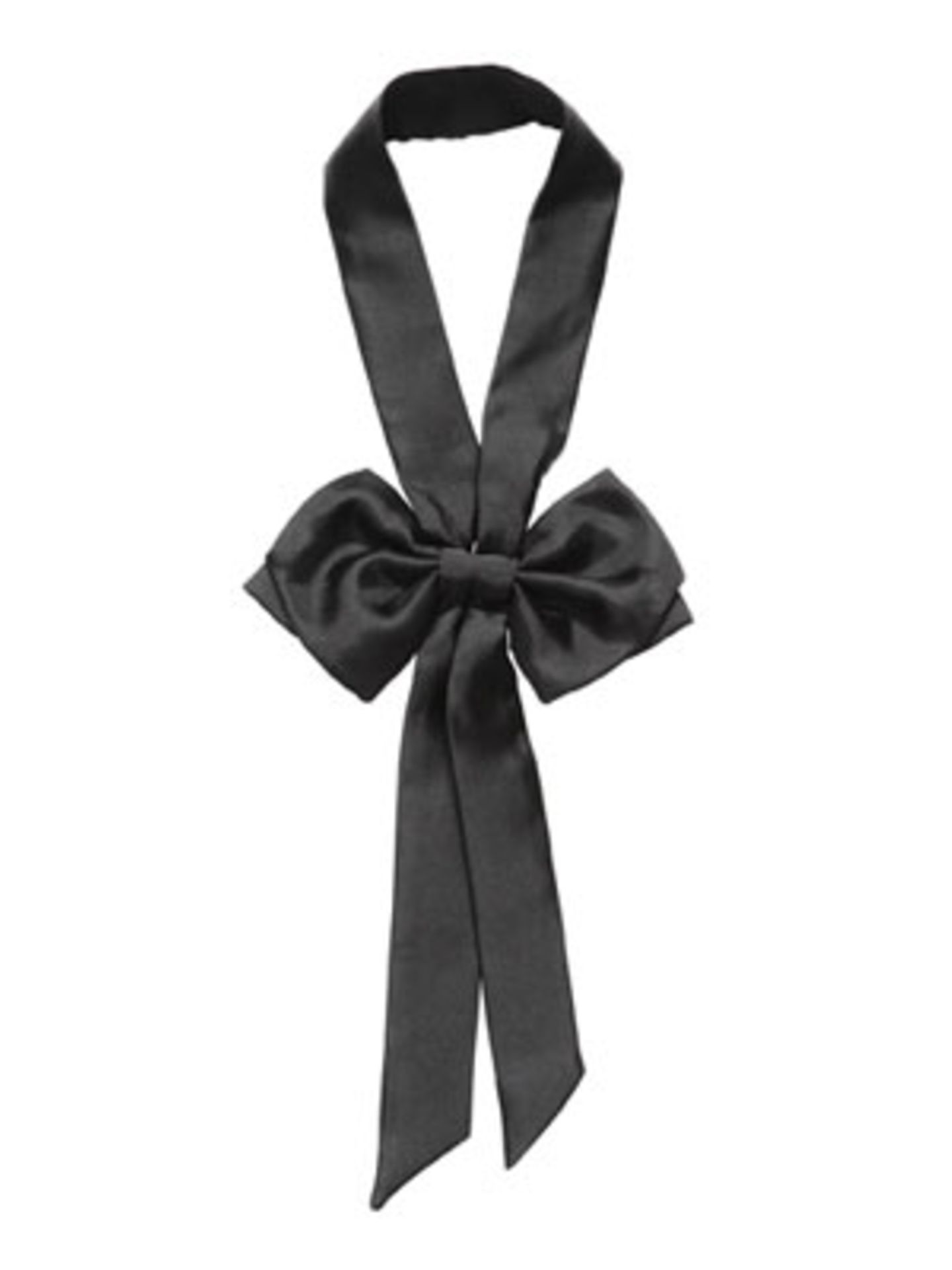 Lange Schwarze Seidenkette-Krawatte mit Schleife von H&M, um 6 Euro.