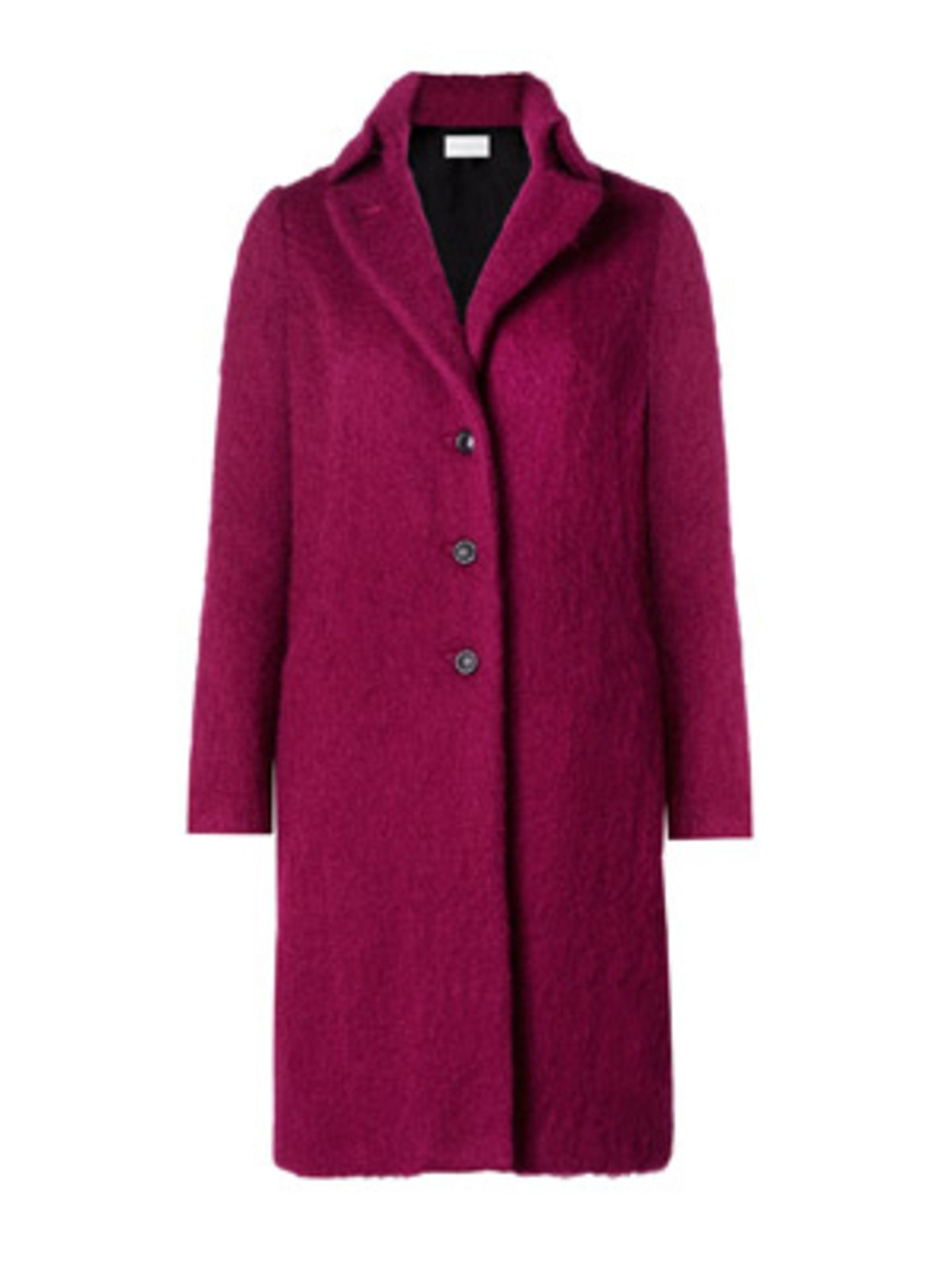 Eleganter, gerade geschnittener Wollfilz-Mantel von Turnover in Himbeer-Ton, um 300 Euro.