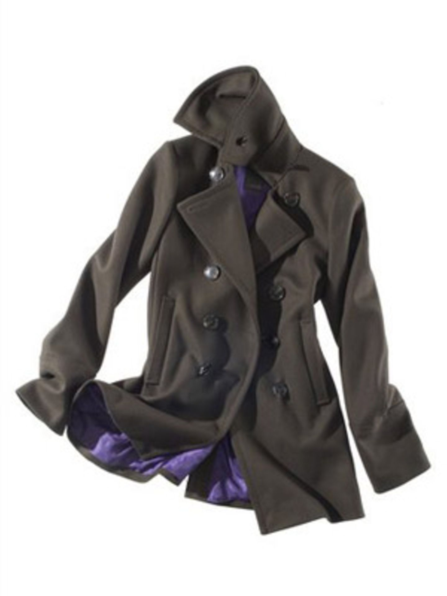 Zweireihiger Mantel mit lilafarbenem Innenfutter von Cinque, ca. 300 Euro. Über www.brandneu.de.