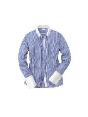 Klassische Bluse mit feinen blauen Streifen zu weißem Kragen und Armbündchen von Pureday, um 80 Euro. Über www.conleys.de.