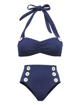 Bikini im 50ies-Look mit großen Knöpfen und hoch geschnittenem Höschen von H&M. Top und Höschen je um 13 Euro.