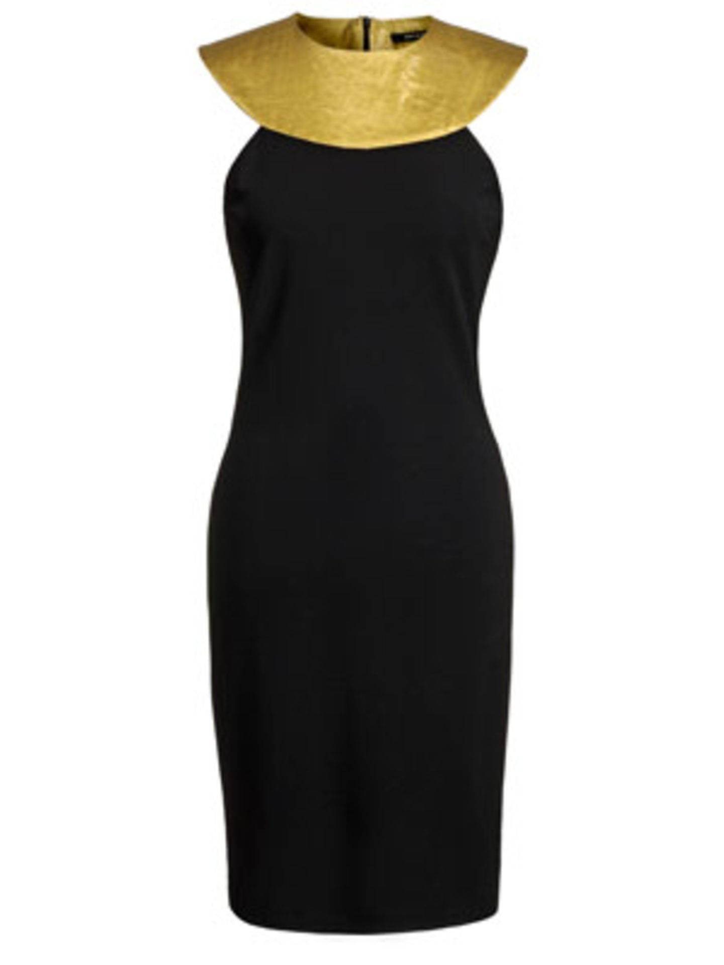 Langes, körperbetontes Kleid mit hohem Kragen in Gold von Osman Yousefzada für Mango, um 59,90 Euro.