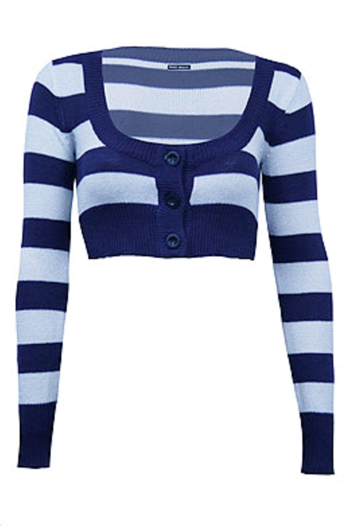 Blau-weiß gestreifte kurze Strickjacke, 15 Euro; von TALLY WEiJL