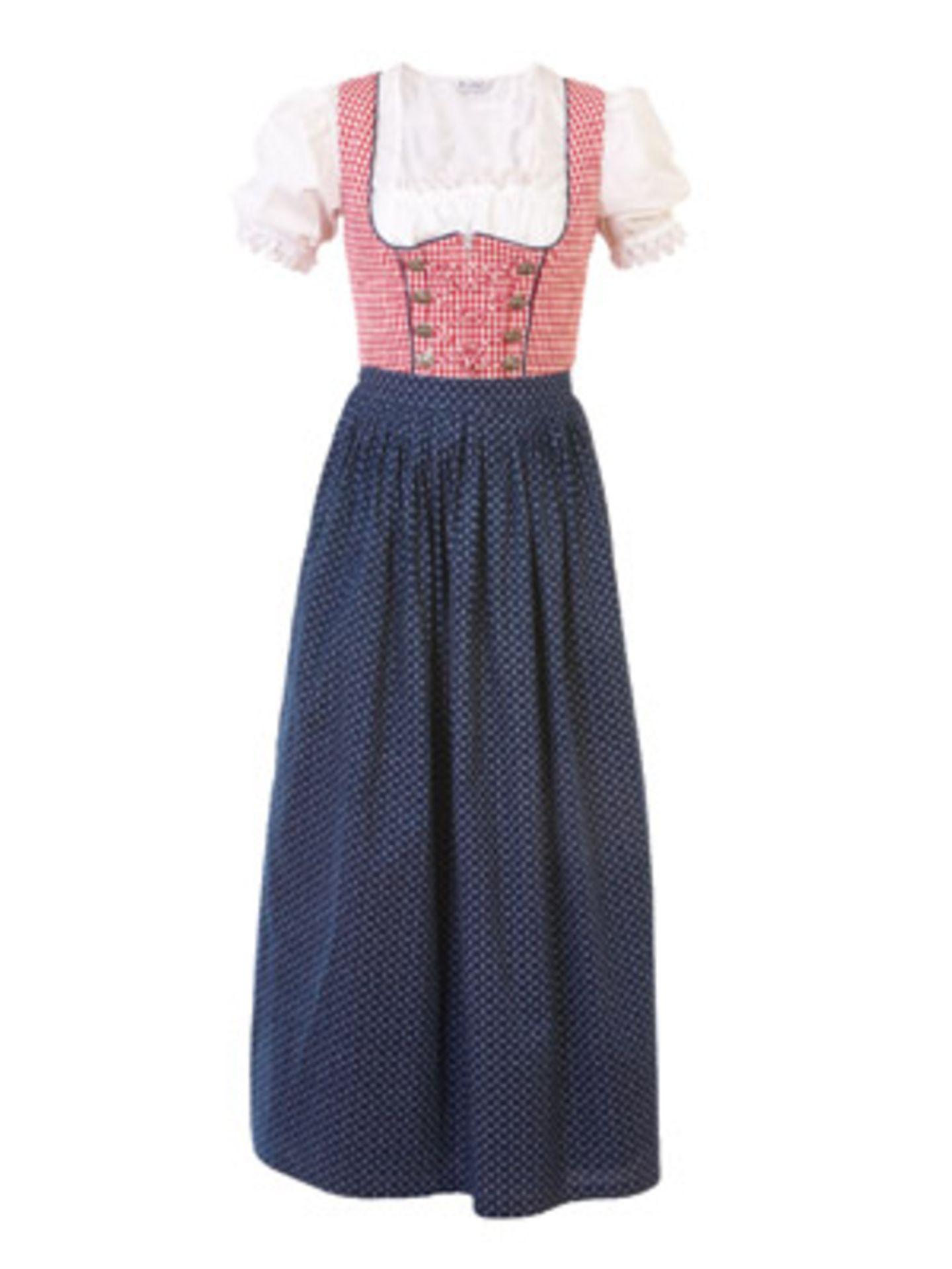 Schmal geschnittenes, bodenlanges Dirndl mit Bluse von Berwin & Wolff, ab ca. 170 Euro. Über www.otto.de.