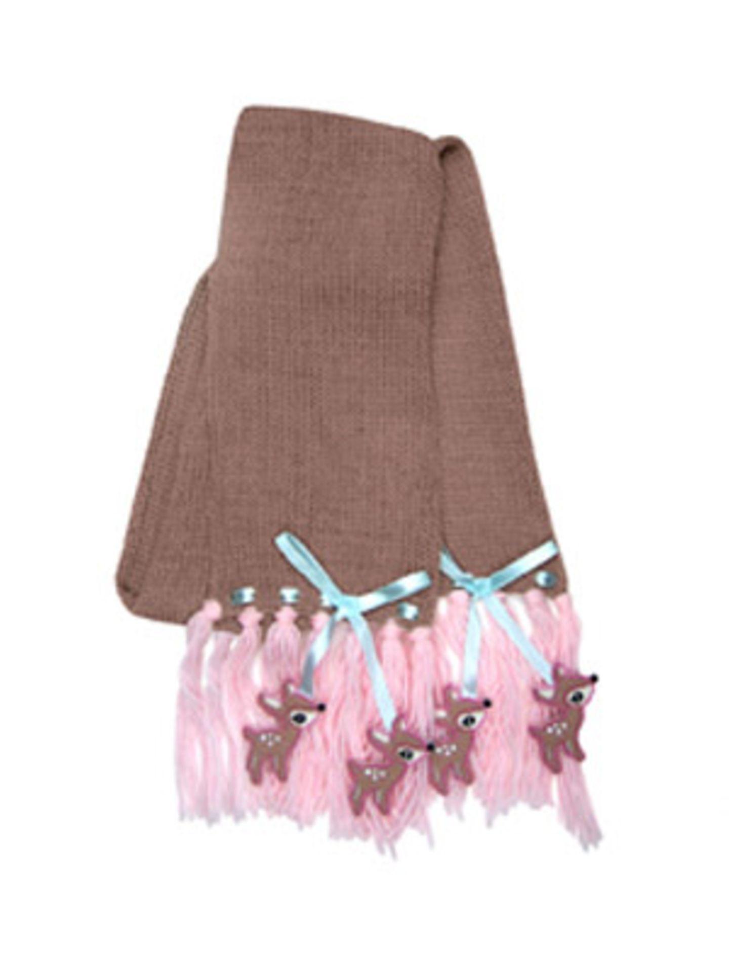 Brauner Schal mit rosafarbenen Fransen und kleinen Rehen, ca. 15 Euro. Über www.bertine.de.